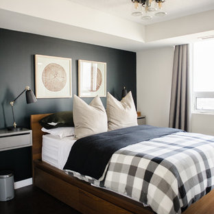 Small transitional master bedroom in Toronto with black walls, medium hardwood floors, no fireplace and brown floor.