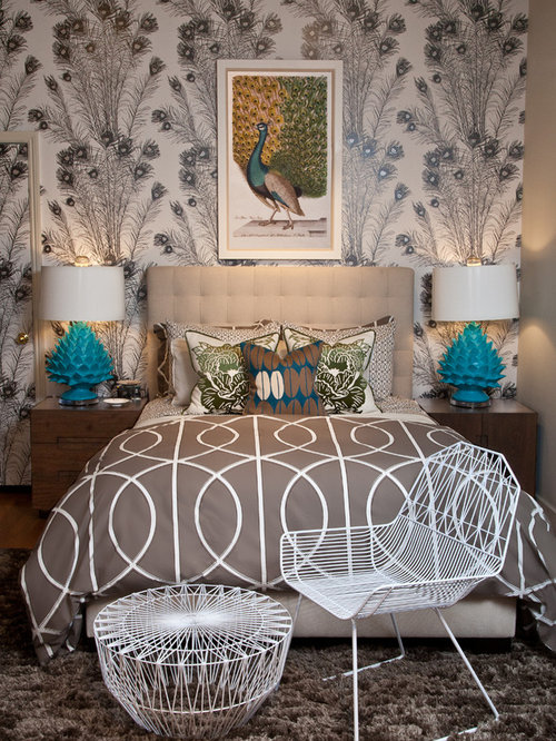 peacock inspired living room. Inspiration for a contemporary bedroom remodel in Los Angeles Peacock  Houzz