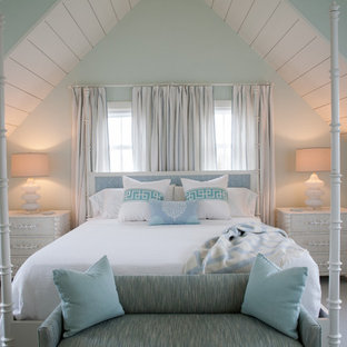 Inspiration for a mid-sized coastal master bedroom remodel in Boston with blue walls