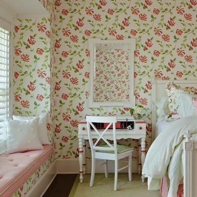 Mid-sized cottage chic guest dark wood floor bedroom photo in Other with multicolored walls