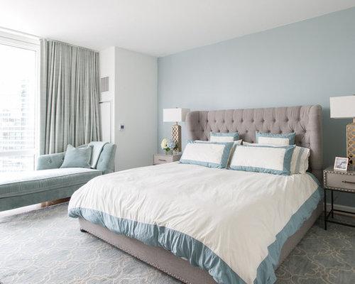 Chambre adulte r tro avec un mur bleu photos et id es d co de chambres adultes - Chambre vintage adulte ...