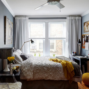 Inspiration for a mid-sized transitional master bedroom in Chicago with grey walls, light hardwood floors, beige floor and no fireplace.