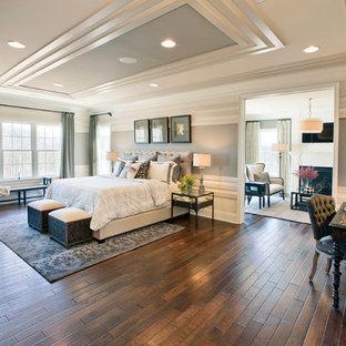 フィラデルフィアの大きいトラディショナルスタイルのおしゃれな寝室 (グレーの壁、濃色無垢フローリング)