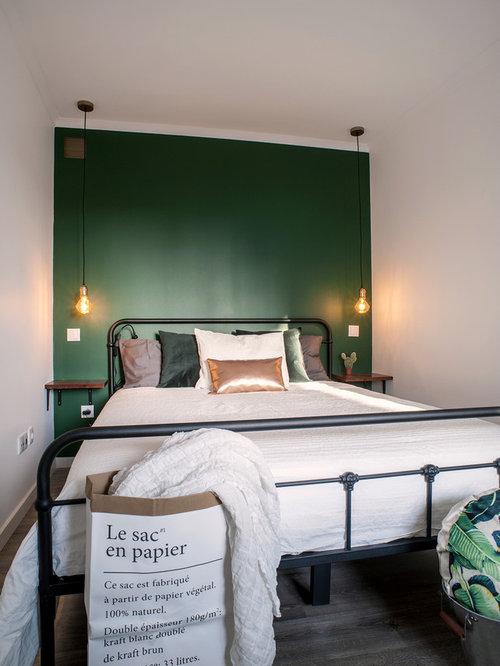 Schlafzimmer mit Linoleum und grüner Wandfarbe Ideen, Design ...