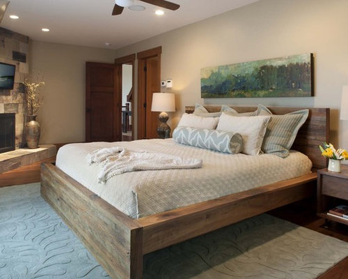 Rustic Wooden Bed Frame Houzz