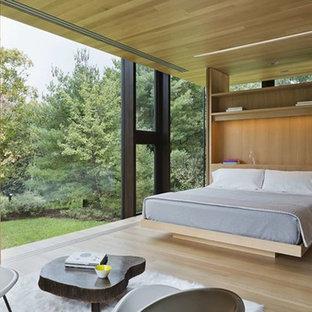 Ejemplo de habitación de invitados minimalista, de tamaño medio, sin chimenea, con paredes marrones y suelo de madera clara