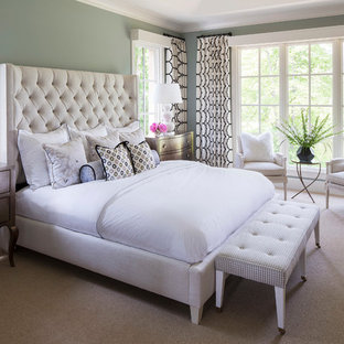 Inspiration for a large transitional master bedroom in Minneapolis with green walls, carpet and no fireplace.