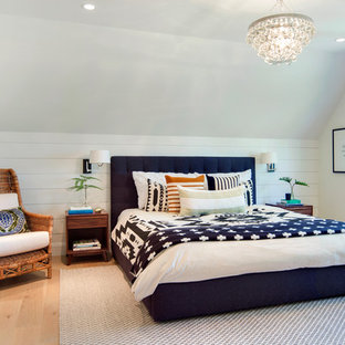 Example Of A Country Light Wood Floor Bedroom Design In Minneapolis With  White Walls