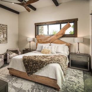 Ispirazione per una camera degli ospiti stile rurale con pareti beige, moquette e nessun camino