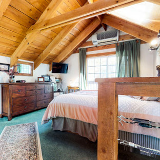 Неиссякаемый источник вдохновения для домашнего уюта: спальня среднего размера на антресоли в стиле рустика с ковровым покрытием и бирюзовым полом