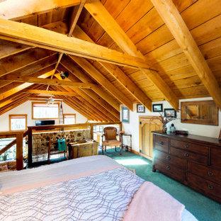 Modelo de dormitorio tipo loft, rústico, de tamaño medio, con moqueta y suelo turquesa