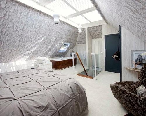 Grauer teppichboden schlafzimmer  Schlafzimmer im Loft-Style mit Teppichboden - Ideen, Design & Bilder