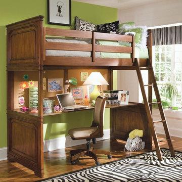 Loft bunk bed with desk