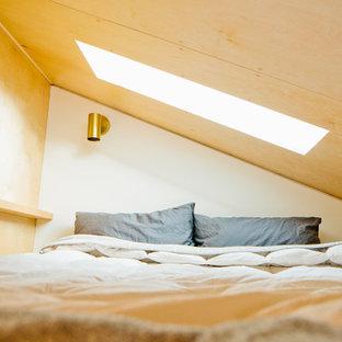 Modelo de dormitorio tipo loft, pequeño, sin chimenea, con paredes blancas