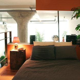 Ejemplo de dormitorio tipo loft, pequeño, con parades naranjas y suelo de madera en tonos medios