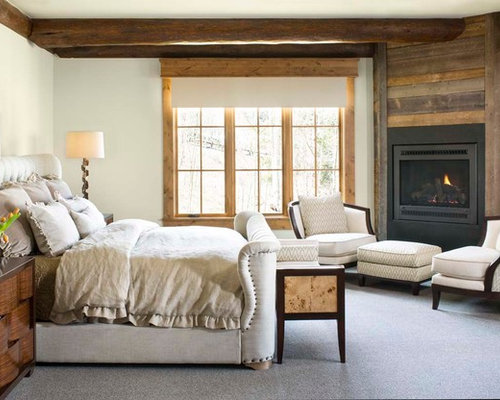 Large rustic bedroom design ideas remodels photos houzz for Master bedroom corner fireplace