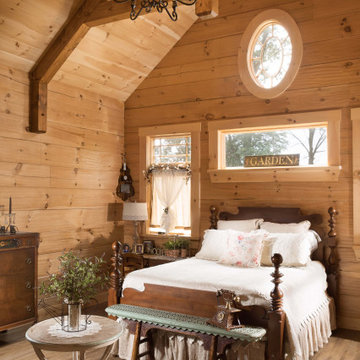 Log Home Master Bedroom Suite Modern-Day Farmhouse
