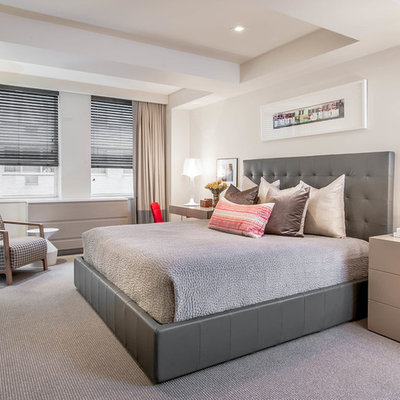 Inspiration for a large contemporary master carpeted and gray floor bedroom remodel in New York with white walls and no fireplace