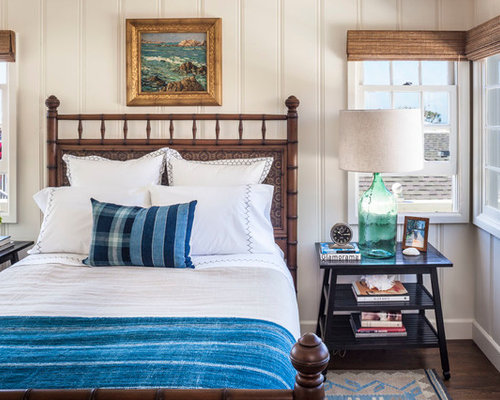 Inspiration For A Small Beach Style Dark Wood Floor Bedroom Remodel In  Orange County With White