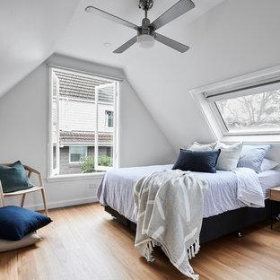 シドニーの大きいコンテンポラリースタイルのおしゃれなゲスト用寝室 (白い壁、無垢フローリング、茶色い床、暖炉なし) のレイアウト