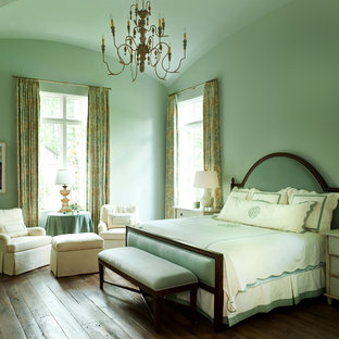 Example of a classic bedroom design in Houston with green walls