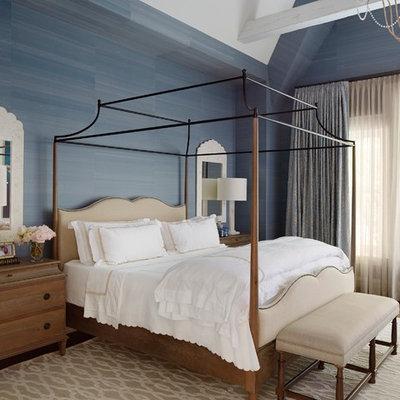 Bedroom - traditional master dark wood floor bedroom idea in Los Angeles with blue walls