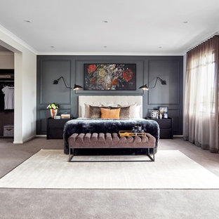 Design ideas for an expansive contemporary master bedroom in Melbourne with carpet, white walls and grey floor.