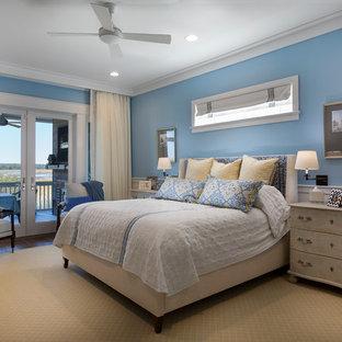 Country Dark Wood Floor And Brown Floor Bedroom Photo In Charleston With  Blue Walls