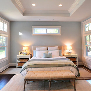 Modelo de dormitorio principal, de estilo americano, grande, sin chimenea, con paredes azules y suelo vinílico