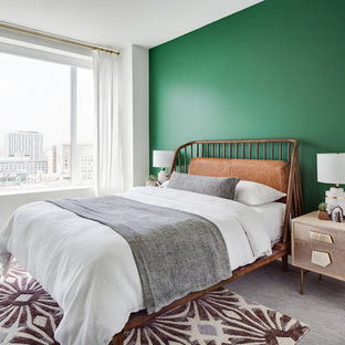 Inspiration for a large 1950s guest carpeted and gray floor bedroom remodel in Los Angeles with green walls