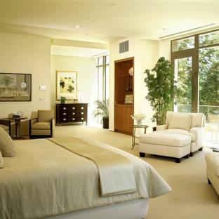 Foto de dormitorio principal, minimalista, con paredes blancas, moqueta y marco de chimenea de piedra