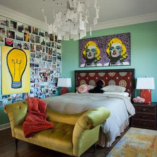 Mid-sized eclectic dark wood floor and brown floor bedroom photo in San Francisco with blue walls