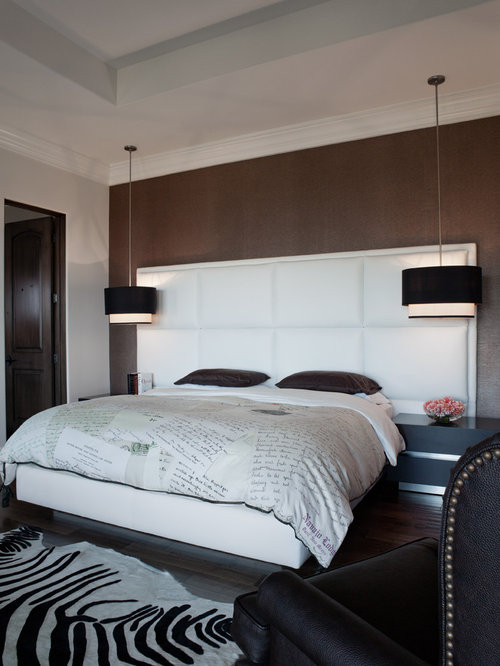 Bedroom Contemporary Idea In San Francisco With Brown Walls
