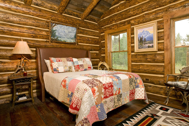 Rustic Bedroom by Teton Heritage Builders