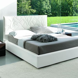 Loto - Modern Bed in White Eco-Leather - Features