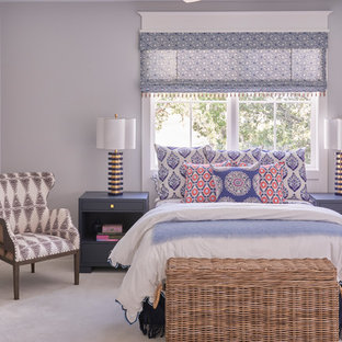 Bedroom Mid Sized Transitional Guest Carpeted And Gray Floor Idea In Atlanta With