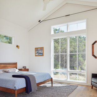 Beau Danish Medium Tone Wood Floor And Brown Floor Bedroom Photo In Austin With  White Walls