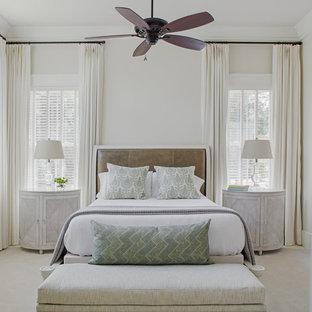 Coastal carpeted and beige floor bedroom photo in Atlanta with beige walls