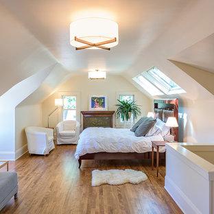 Foto de dormitorio tipo loft, tradicional, pequeño, con paredes blancas, suelo de madera en tonos medios, chimenea tradicional y marco de chimenea de metal