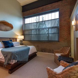 Aménagement d'une chambre avec moquette asiatique avec un mur gris et une cheminée standard.
