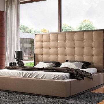 Ludlow Platform Bed Wenge | Taupe Leather