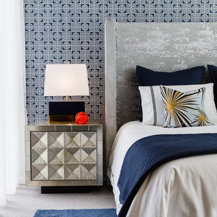 Design ideas for a transitional master bedroom in Perth with blue walls, carpet and grey floor.