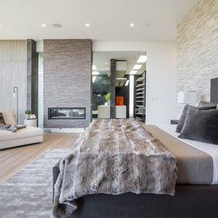 Imagen de dormitorio actual con paredes blancas, suelo de madera clara y chimenea de doble cara