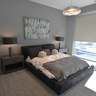 Example of a mid-sized minimalist master carpeted and gray floor bedroom design in Charlotte with gray walls