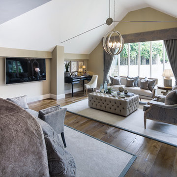 Luxury Cotswolds house with antique heavy brushed and smoked oak flooring