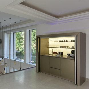 Imagen de dormitorio tipo loft y casetón, actual, de tamaño medio, con paredes blancas, suelo de baldosas de porcelana y suelo beige