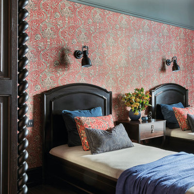Inspiration for a timeless guest bedroom remodel in London with multicolored walls
