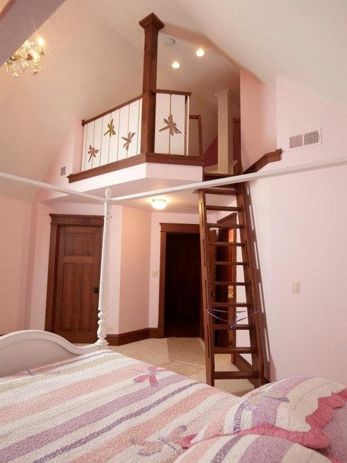 Chambre Mansard E Ou Avec Mezzanine Avec Un Mur Rose Photos Et Id Es D Co De Chambres