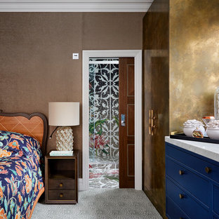 Mid-sized eclectic bedroom photo in London