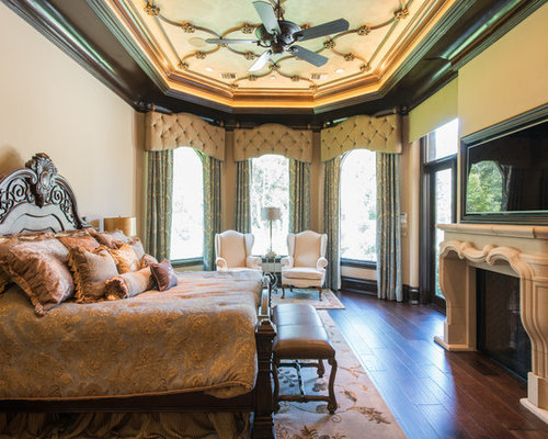 Inspiration for a victorian master dark wood floor and brown floor bedroom  remodel in Houston with